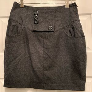 Gray wool and polyester mini skirt
